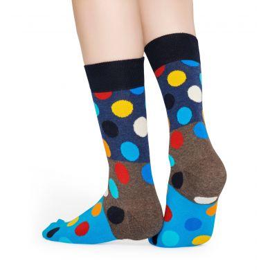 Modro-hnědé ponožky Happy Socks s barevnými puntíky, vzor Big Dot Block