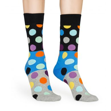 Černo-modré ponožky Happy Socks s barevnými puntíky, vzor Big Dot Block