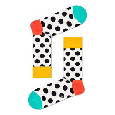 Bílé ponožky Happy Socks s černými puntíky, vzor Big Dot