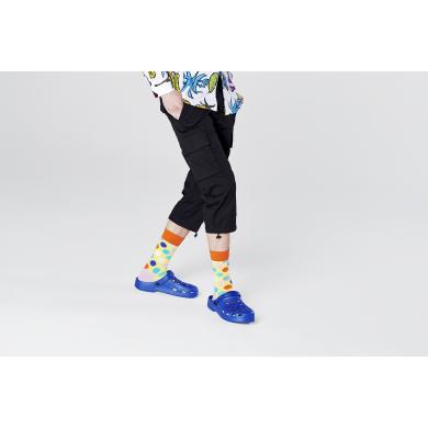 Žluté ponožky Happy Socks s barevnými puntíky, vzor Big Dot