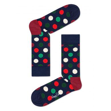 Tmavě modré ponožky Happy Socks s barevnými puntíky, vzor Big Dot