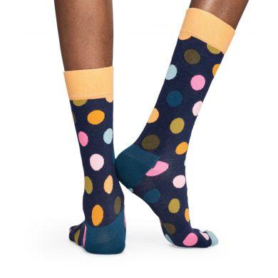 Tmavě modré ponožky Happy Socks s barevnými puntíky a lemováním, vzor BIg Dot