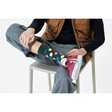 Zelené ponožky Happy Socks s barevnými puntíky, vzor Big Dot