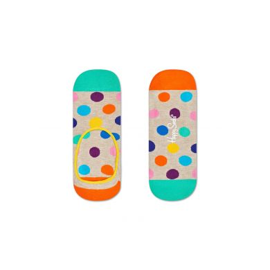 Béžové nízké vykrojené ponožky Happy Socks s barevnými puntíky, vzor Big Dot