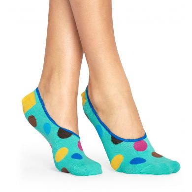 Tyrkysové nízké ponožky Happy Socks s barevnými puntíky, vzor Big Dot
