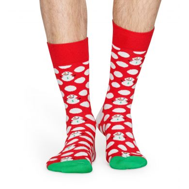 Červené ponožky Happy Socks s bílými puntíky a sněhuláky, vzor Big Dot Snowman