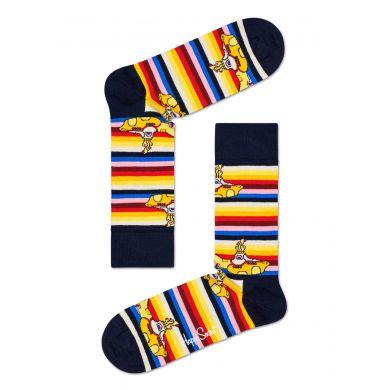 Žluto-černé pruhované ponožky s ponorkami z kolekce Happy Socks x Beatles, vzor All On Board