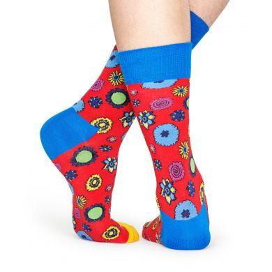 Červené ponožky Happy Socks s květy x The Beatles