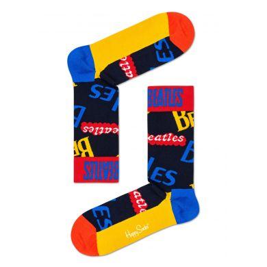 Modré ponožky s nápisy Beatles z kolekce Happy Socks x Beatles, vzor In The Name Of