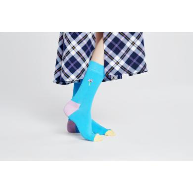 Tyrkysové ponožky Happy Socks s vyšitou palmou, vzor Embroidery Palm