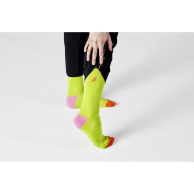 Zelené ponožky Happy Socks s vyšitým bleskem, vzor Embroidery Flash