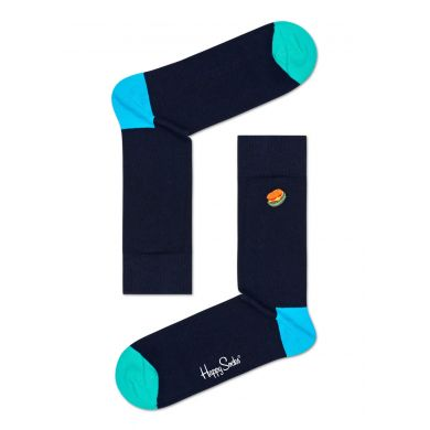 Tmavě modré ponožky Happy Socks vyšitým hamburgerem, vzor Embroidery Hamburger