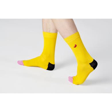 Žluté ponožky Happy Socks s vyšitým párkem v rohlíku, vzor Embroidery Hot Dog