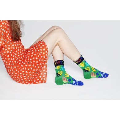 Zeleno-modré ponožky Happy Socks s listy a barevným nápisem Happy, vzor Big Leaf