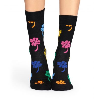 Černé ponožky Happy Socks s barevnými čtyřlístky, vzor Big Luck