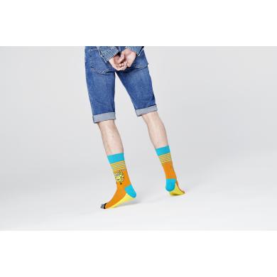 Oranžovo-žluté ponožky s pruhy z kolekce Happy Socks x Sponge Bob, vzor Let's Work It Out