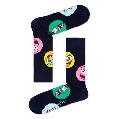 Černé ponožky z kolekce Happy Socks x Sponge Bob, vzor Circle Of Friends