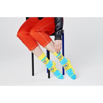 Žluto-modré ponožky z kolekce Happy Socks x Sponge Bob, vzor Say Cheese Burger