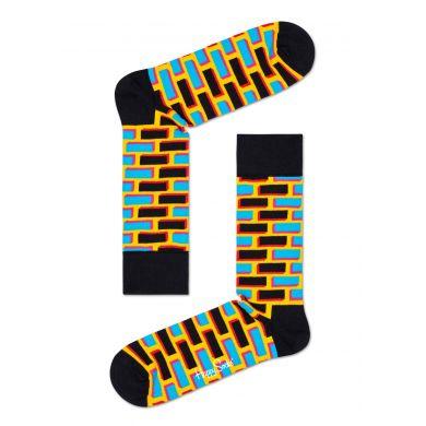 Černo-žluté ponožky Happy Socks s cihlami, vzor Brick
