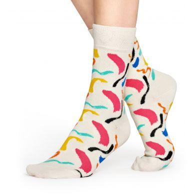 Krémové ponožky Happy Socks s barevnými tahy štětcem, vzor Brush Stroke