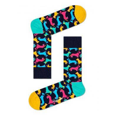 Tmavě modré ponožky Happy Socks s barevnými jezevčíky, vzor Dog
