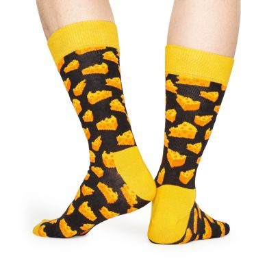 Žluto-černé ponožky Happy Socks se sýrem, vzor Cheese