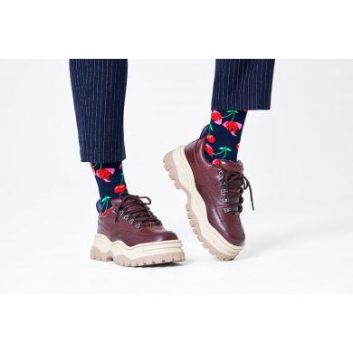 Tmavě modré ponožky Happy Socks s třešněmi a psy, vzor Cherry Dog