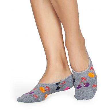 Šedé nízké vykrojené ponožky Happy Socks s třešněmi, vzor Cherry