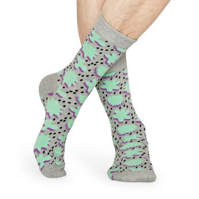Šedé ponožky Happy Socks s tyrkysovým vzorem Comic Relief