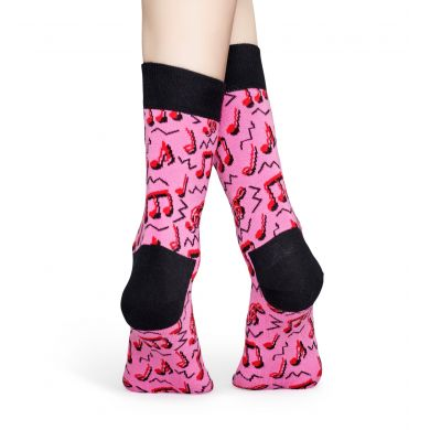Růžové ponožky Happy Socks s notami, vzor City Jazz