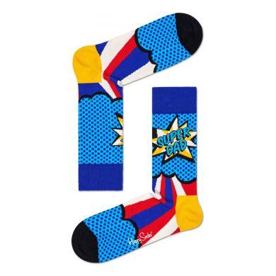 Modré ponožky Happy Socks s komiksovým vzorem, vzor Super Dad