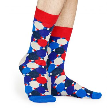 Modro-červené ponožky Happy Socks, vzor Diamond Dot