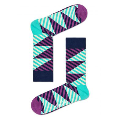 Tyrkysovo-fialové ponožky Happy Socks, vzor Diagonal Stripe