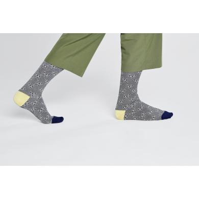 Šedé ponožky Happy Socks s motivem psa Lajky, vzor Laika // KOLEKCE DRESSED