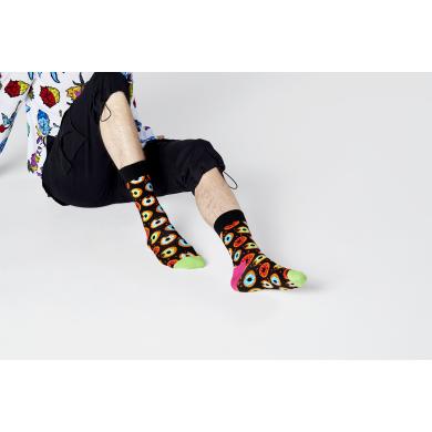 Černé ponožky Happy Socks s donuty, vzor Donut