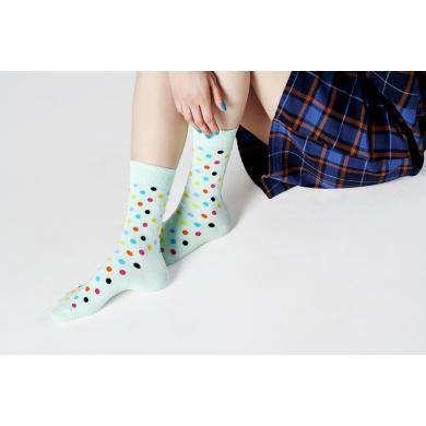 Světle tyrkysové ponožky Happy Socks s barevnými puntíky, vzor Dot