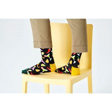 Černé ponožky Happy Socks s margaritami, vzor Drink