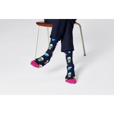 Tmavě modré ponožky Happy Socks s vajíčky ve skleničce, vzor Egg Cups