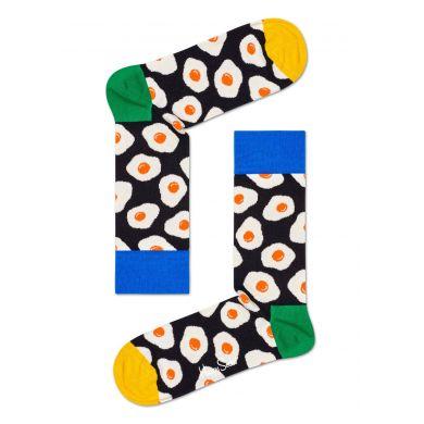 Černé ponožky Happy Socks s vajíčky, vzor Sunny Side Up