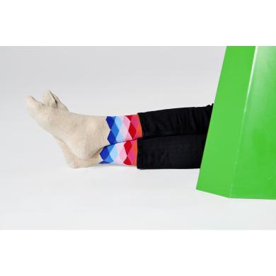 Béžovo-červené ponožky Happy Socks se vzorem Faded Diamond