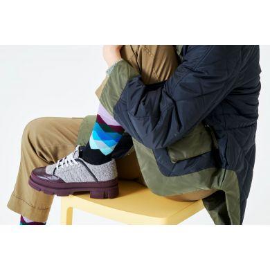 Černo-fialové ponožky Happy Socks, vzor Faded Diamond