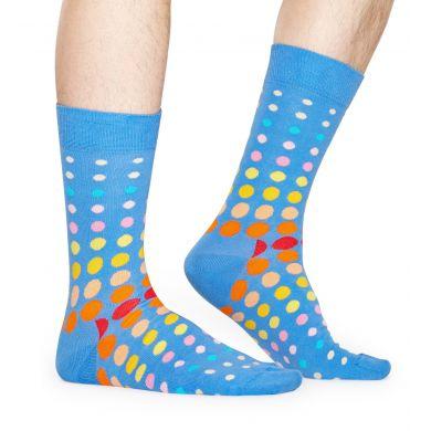 Modré ponožky Happy Socks s barevnými puntíky, vzor Faded Disco Dot