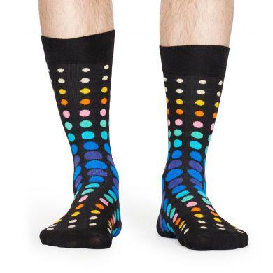 Černé ponožky Happy Socks s barevnými puntíky, vzor Faded Disco Dot