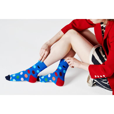 Modré ponožky Happy Socks s barevnými puntíky, vzor Faded Dot