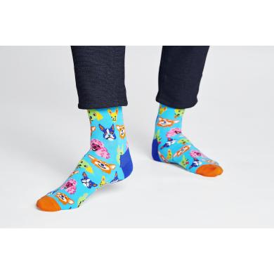 Modré ponožky Happy Socks s barevnými psy, vzor Funny Dog