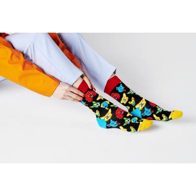 Černé ponožky Happy Socks s barevnými psy, vzor Funny Dog
