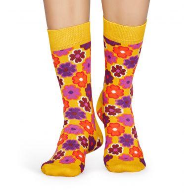 Žluté ponožky Happy Socks s retro květinovým vzorem Flower Power