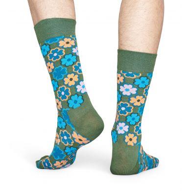 Zelené ponožky Happy Socks s retro květinovým vzorem Flower Power
