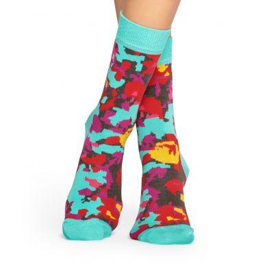 Tyrkysové ponožky Happy Socks s barevným vzorem Flower