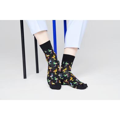Černé ponožky Happy Socks s plameňáky, vzor Flamingo